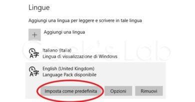 Come cambiare lingua su Windows 10