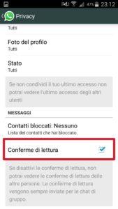 Disattivare conferme di lettura WhatsApp