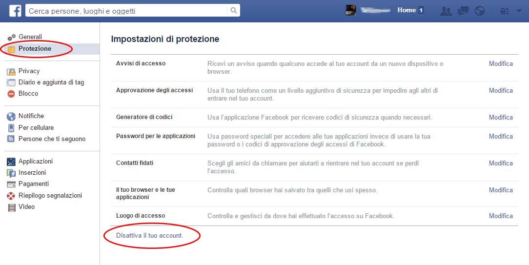 disattivare account Facebook