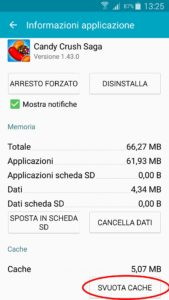 gestione app svuota cache