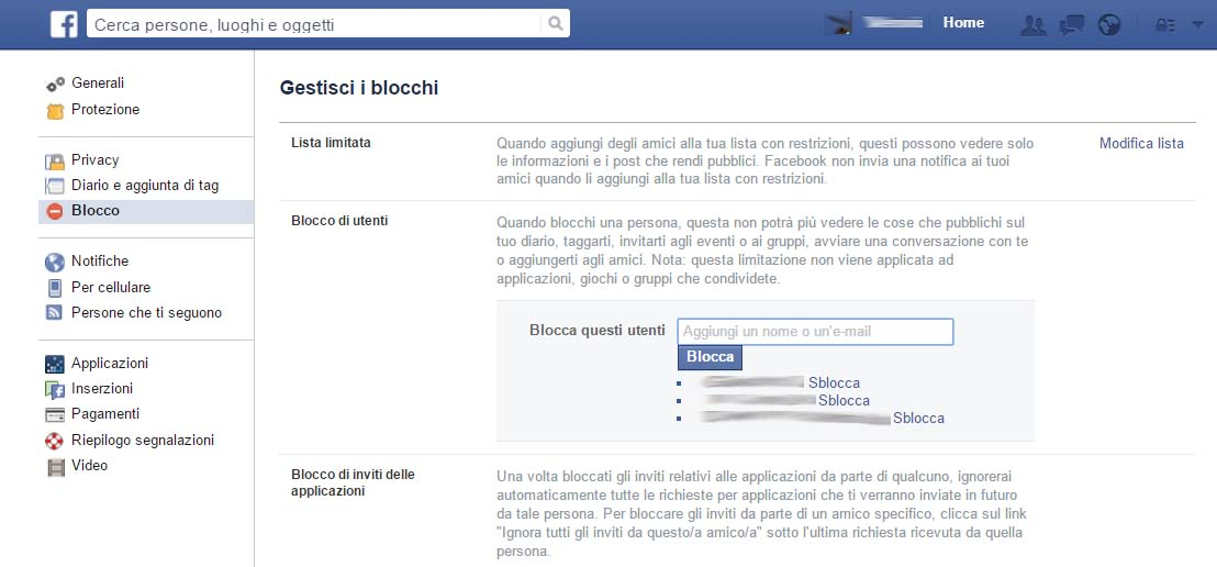 bloccare contatti su Facebook