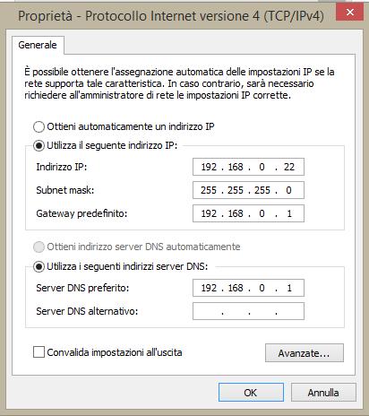 indirizzo ip statico