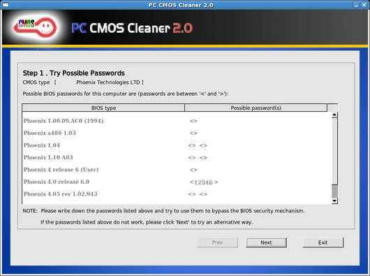 pc cmos cleaner step 1