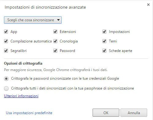 Sincronizzare Preferiti Chrome con account Google