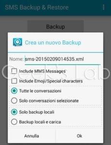 backup e ripristino sms