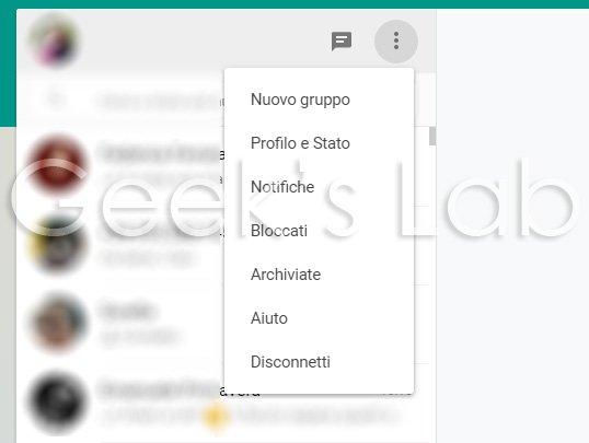whatsapp web impostazioni