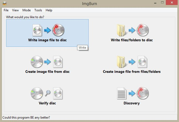 write image file to disc
