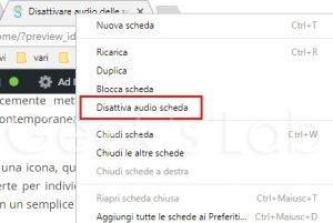 Disattivare audio delle schede Google Chrome