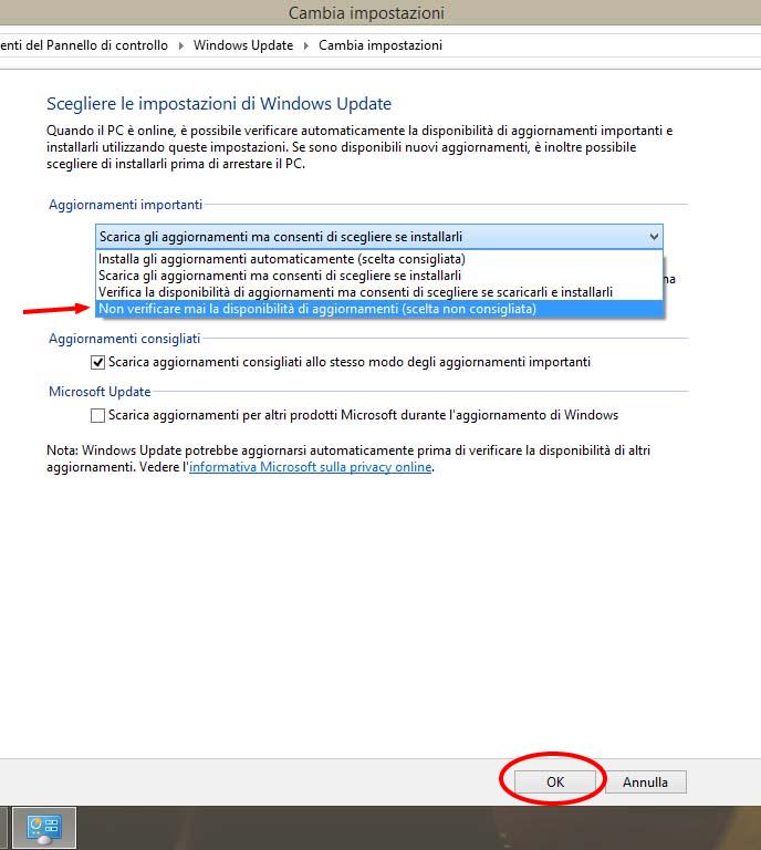 Disattivare aggiornamenti automatici Windows 8