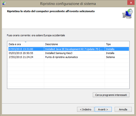 ripristinare sistema windows 8