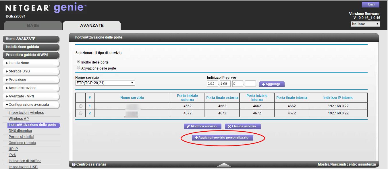 Aprire porte router Netgear DGN2200 v4
