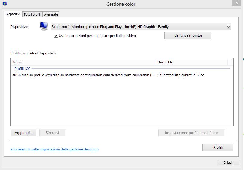 Ripristinare calibrazione predefinita display Windows 8
