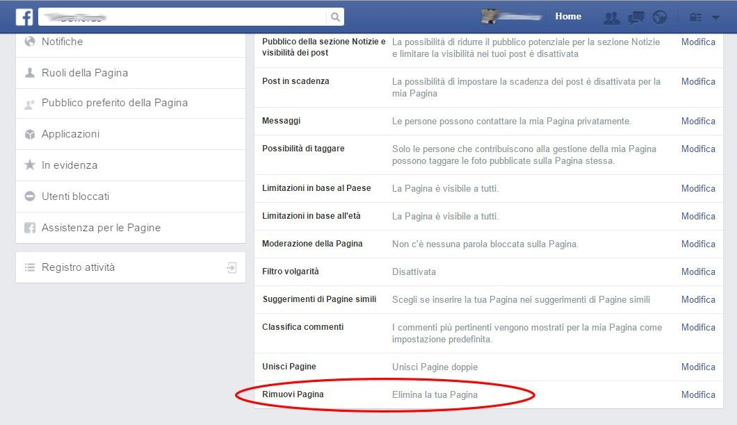 Chiudere una pagina Facebook
