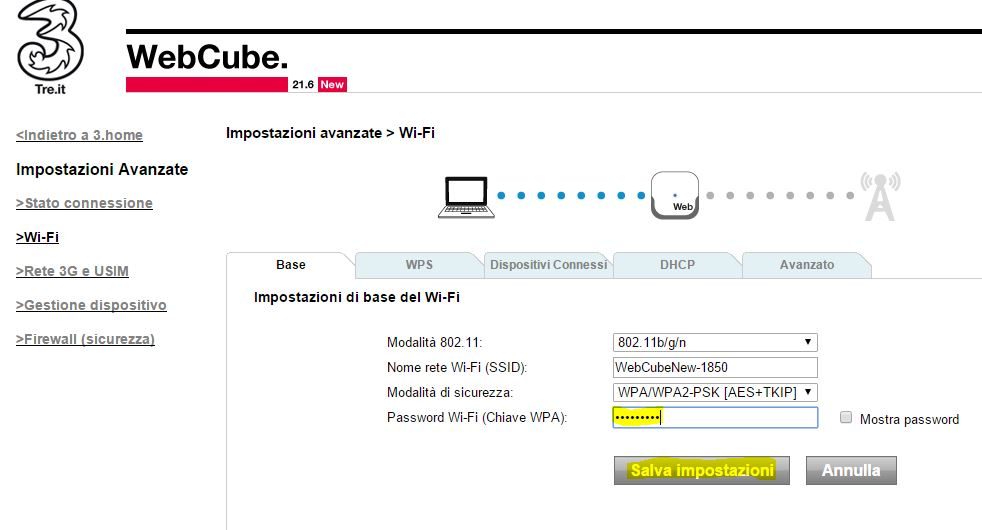 Cambiare password Wi-Fi Webcube 3