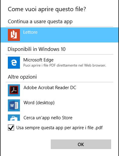 Windows 10 cambiare Lettore PDF predefinito
