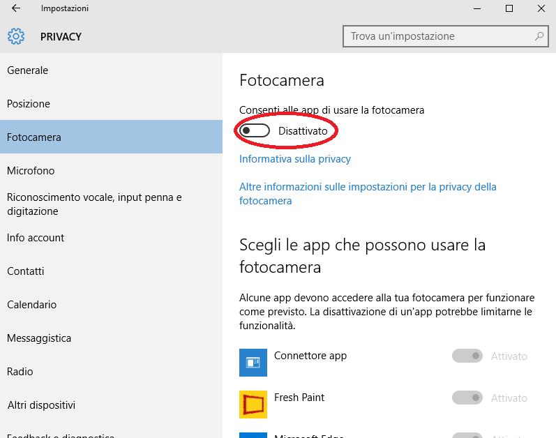 Come disattivare la webcam in Windows 10