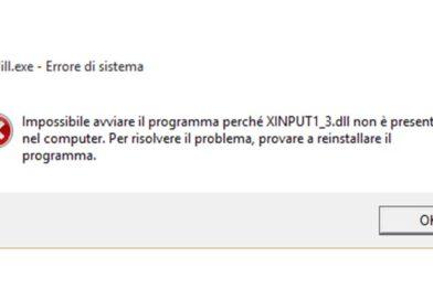 Risolvere errore XINPUT1_3.dll mancante