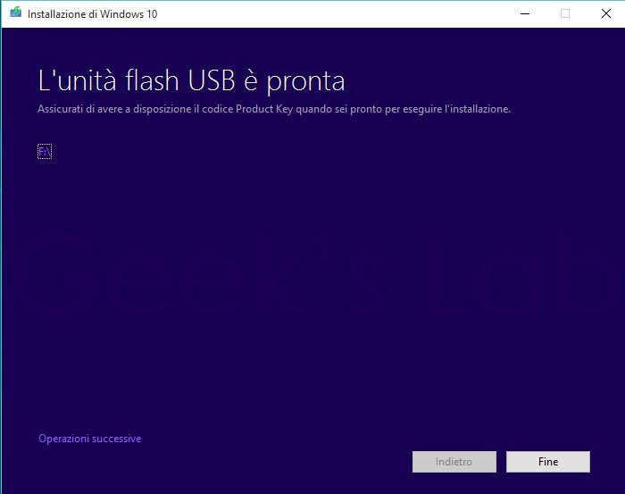 chiavetta USB avviabile di Windows 10
