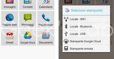 Stampare da smartphone e tablet Android via Usb