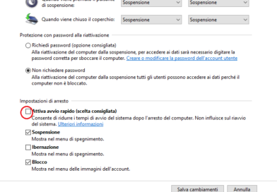 Come disabilitare avvio rapido su Windows 10
