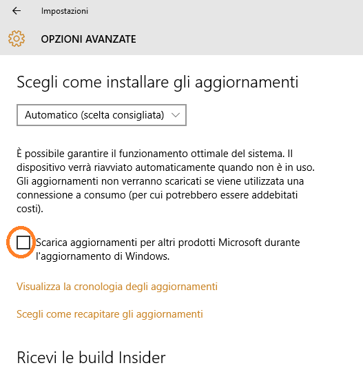 Disabilitare aggiornamento automatico Office