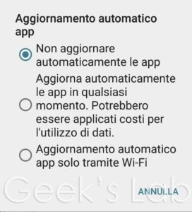 Disattivare aggiornamento automatico delle App