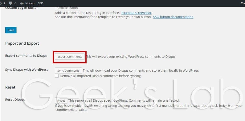 Importare commenti WordPress su Disqus