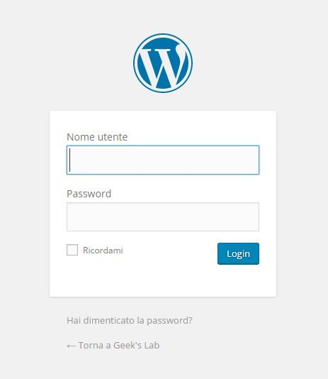 pannello di controllo wordpress