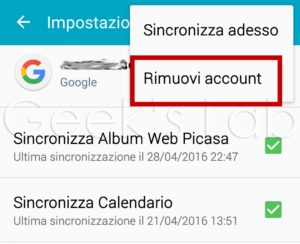 rimuovi account google