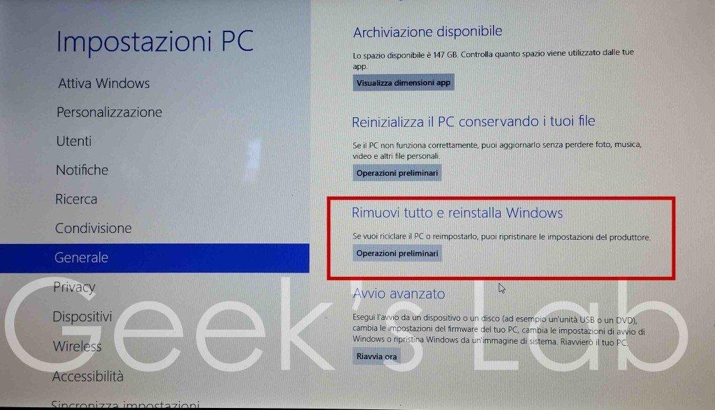 Ripristinare impostazioni di fabbrica Windows 8