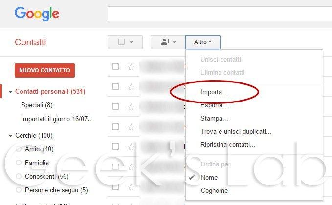 importa csv su gmail