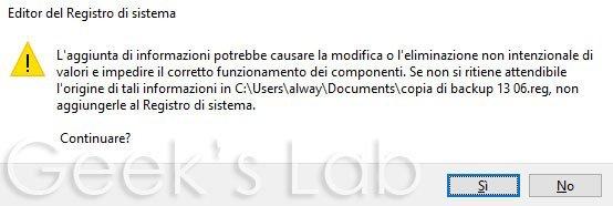 editor del registro di sistema