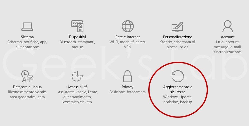 aggiornamento e sicurezza windows 10