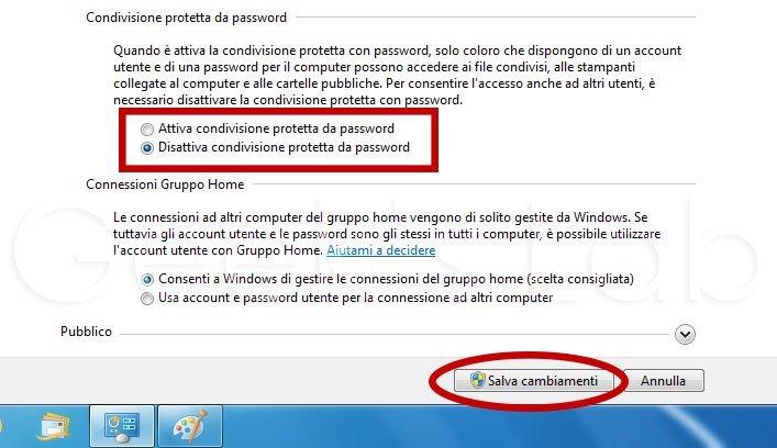 Disattivare condivisione protetta Windows 7