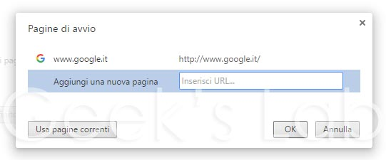 pagine di avvio google chrome1