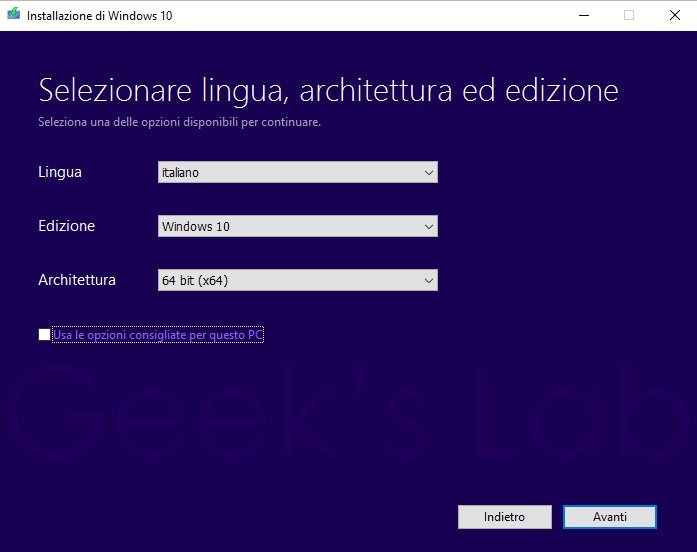 installazione di windows 10 su ssd