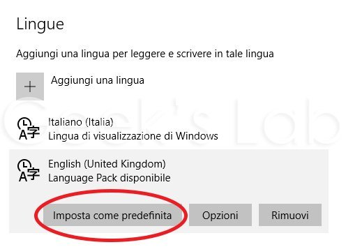 cambiare lingua su Windows 10