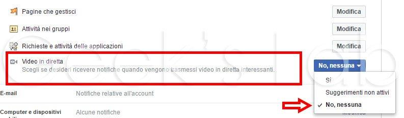 disattivare notifiche Video in Diretta Facebook