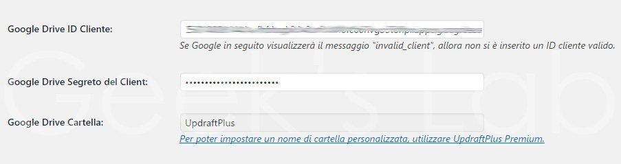 Configurare account Google Drive su UpdraftPlus