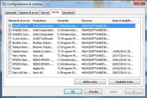 Disattivare avvio automatico programmi Windows 7