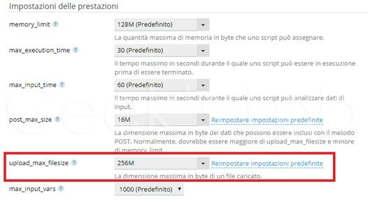 aumentare upload max filesize WordPress su Plesk