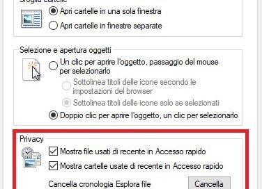Nascondere cronologia file recenti Windows 10