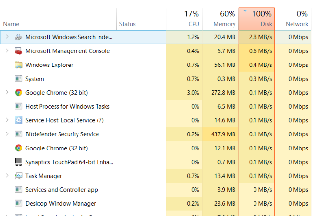 100% Disk Usage in Windows