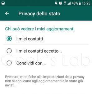 nascondere stato WhatsApp