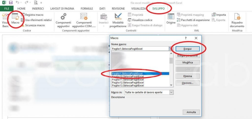 rimuovere password foglio Excel