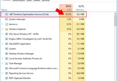 .NET Runtime Optimization Service: utilizzo CPU elevato